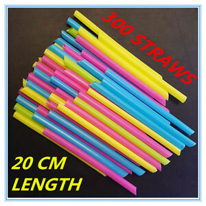 300 LARGE WIDE PLASTIC COLOURFUL DRINKING STRAWS 20 CM LENGTH - PARTY WEDDING A
