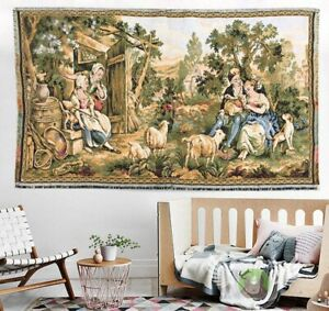12440 Antique Tapestry, French Tapestry, Wall Hanging, Aubusson Tapestry 3x2