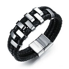 Braided Wristband Bracelet Stainless Steel Surfer Mens 3 Row Black Real Leather