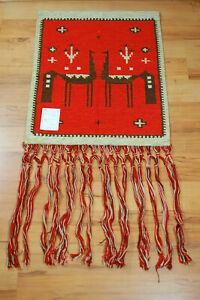 Vintage Boho Wool Folk Tapestry Hungarian Hand Woven Animals Fringe Wall Hanging