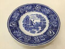 """Arabia Suomi Finland Landscape Blue Rim Soup Bowl, Windmill Scene, 7 3/4"""" Dia"""
