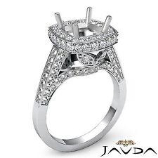18k White Gold Diamond Engagement Halo Set Cushion Shape Semi Mount 1.3Ct Ring