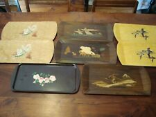 8 - Vintage Hasko Haskelite Lithograph Wood Buffet Lap Trays