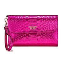 Victoria's Secret Wristlet Purse hot pink Luxe Python Tech Clutch Wallet NWT