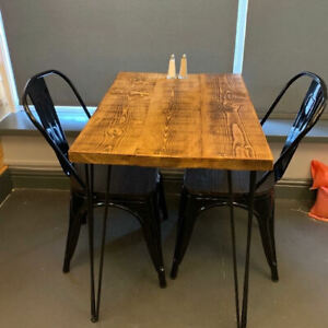 Rustic industrial style table with Hairpin Legs dining cafe Solid Wood Timber