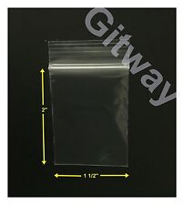 "1000 set 1 1/2"" x 2"" Reclosable Resealable Zip Top Lock Clear Plastic Bags 2 ML"