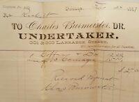 ANTIQUE 1887 CHICAGO UNDERTAKER DR BURMEISTER LARRABEE TELEPHONE COFFIN RECEIPT