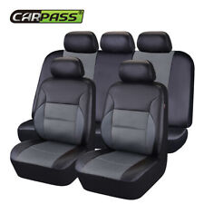 Universal Gray Car Seat Covers Front Rear Leather&Mesh Airbag For SUV Sedan 11pc