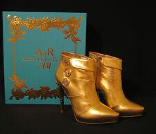 ANNA DELLO RUSSO H&M Stiefelette Gr.38 US8 Stiefeletten Gold Leder Boots Stiefel