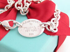 """Tiffany & Co Silver Oval Please Return To Necklace Choker 15.5"""" MSRP $450"""