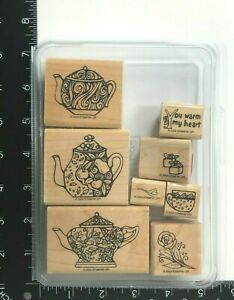 Stampin Up Warm My Heart Wood Mounted Rubber Stamps Set of 8 Teapot Cup Rose