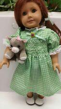 """Handmade Smocked Green & White Gingham Dress Fits 18"""" Dolls American Girl"""
