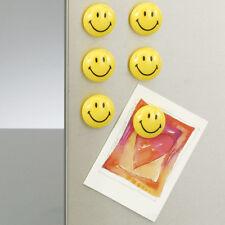 MAGNETE 6TLG SMILEY MAGNETSET RUNDMAGNETE HAFTMAGNETE GELB KÜHLSCHRANKMAGNETE