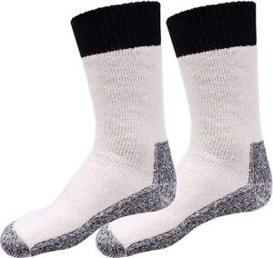 Mens Natural Heavyweight Thick Thermal Winter Boot Socks Pair USA Made