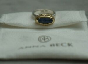 NWB Anna Beck Sterling Silver Gold Blue Precious Gem Stone Statement Ring 7.5 M