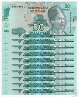 MALAWI 50 Kwacha X 10 PCS 2016 P-64 1/10 Bundle UNC Uncirculated