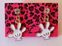 Betsey Johnson Crystal Rhinestone Enamel Mickey Mouse Hands Post Earrings