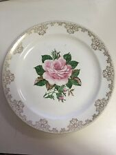 "Vintage Paden City Pottery American Rose Warranted 22K Dinner Plate 9 1/4"" Lot 1"