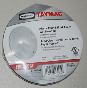 Hubbell Taymac Round Plastic Wet Location Blank Cover - PBC300GY
