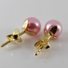 Ladies 6mm Freshwater Rose Pearl Earrings Yellow Gold On Sterling Silver 1.0mm