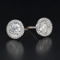 2 CT Genuine Round Cut Enhanced Diamond Stud Earrings F/VS2 14K White Gold