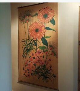 "Vintage Burlap Silkscreen Huge Art Boho Natural Fiber 69"" x 39"" Wall Mural Tan"