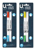 4 X DOUBLE ENDED 8 Liquid Chalk Marker Pen assorted colour Blackboards Glass