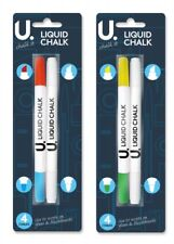 4 X DOUBLE ENDED 8 Liquid Chalk Marker Pen assorted colour Blackboards Glass