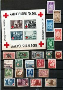 Monaco Japan Croatia Red Cross MH (Apx 30+Items)Hux 607
