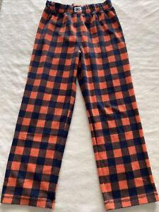 Gap Kids Boys Orange Navy Blue Plaid Fleece Pajama Pants 10