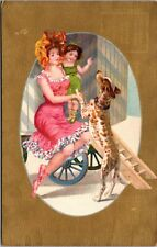 RARE - Beautiful Victorian Lady - Girl - Heel Spotted Dog Postcard - PC GOLD