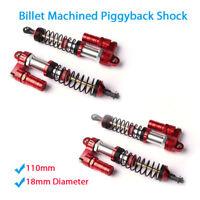 4PCS 110mm Billet Machined Piggyback Shock For 1/8 1/10 TAMIYA CC01 Rock Crawler