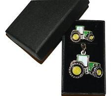 John Deere Green Tractor Keyring & Pin Badge Set Farming GIFT Set Boxed Enamel