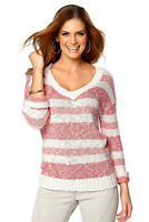 CLEARANCE UK Size 8-16 Women's Cotton V Neck Striped Jumper Ladies Coral White