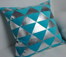 Trendsetter Homez 18 x 18 Inches Set of 2 Trellis Turquoise Throw Pillow Cover /