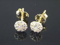 585 Gold kleine runde Ohrstecker  1 Paar 4 mm Grösse mit 20 Zirkonia Steinen