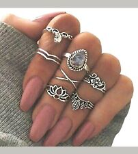 7Pcs Set Silver Above Knuckle Band Midi Rings New Flowers Lotus Vintage Stacking
