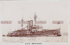 "Royal Navy Real Photo RPPC. HMS ""Dominion"" Battleship. Named for Canada  c 1903"