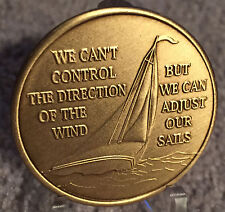 We Can't Control The Wind Adjust Our Sails Sailboat Bronze Medallion Chip Coin