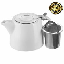 Ceramic Teapot Stump Stainless Steel Filter Infuser Cafe Stackable 18oz 530ml