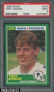 1989 Score Football #270 Troy Aikman Cowboys RC Rookie HOF PSA 9 MINT