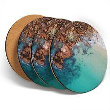 4 x Coasters  - Clear Blue Sea Rocks Beach  #44624