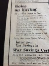 69-3 Ephemera 1918 Advert War Savings Advice How To Save On Gas