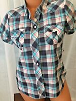 Womens LEVI'S Western Cowgirl rodeo Short Sleeve pearl snap Plaid Shirt Small
