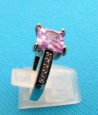 925 Silver Ring With Purple Amethyst And White Topaz Size R 3/4, US 9 (rg1121)