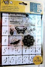 Script Alphabet 75-pc Art-C Clear Acrylic Stamp & Adhesive Stencil Set 26884 NEW