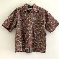 Reyn Spooner Men's medium shirt casual reverse print floral hawaiian camp