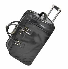 Leather Holdall High Quality Duffle Gym Cabin Travel Wheeled Weekend Bag Black
