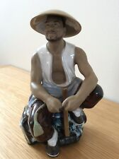 Shiwan Sitting Mud Man Figurine Holdind Sledge Hammer Ex Con.Matt& High Glazed .
