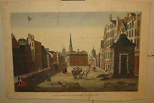 Original Antique EDINBURGH SCOTLAND Herb Market BASSET Vue d'optique engraving